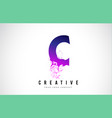 c purple letter logo design with liquid effect vector image vector image