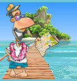 cartoon male tourist standing with a map at the vector image vector image