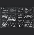 chalk hand drawn meat dishes for menu design vector image