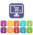 Computer monitor with shopping cart icons set