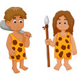 cute couple ancient human cartoon vector image
