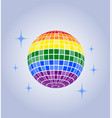 disco ball icon lgbt rainbow pride vector image