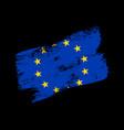 european union flag grunge brush background old vector image