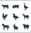 Farm animals silhouettes icon set vector image vector image