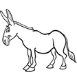 farm donkey cartoon for coloring book vector image vector image