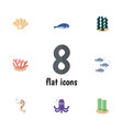 flat icon nature set of cachalot tentacle tuna vector image vector image