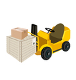 Forklift Truck Loading Shipping Box vector image