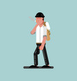 guy with cigarette and gun walking vector image