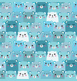 hand drawn bears pattern background fun doodle vector image vector image