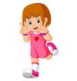 happy little girl cartoon vector image vector image