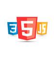 html5 css3 js icon set web development logo icon vector image vector image