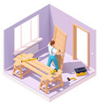 isometric worker at door installation vector image vector image
