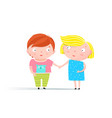 kids boy and girl holding hands vector image