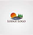 lake logo with smooth wave and tree pine element vector image