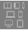 laptop tablet set icon computer book flash phone vector image