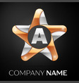 letter a logo symbol in the colorful star on black vector image vector image