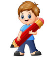 little boy holding a pencil vector image vector image