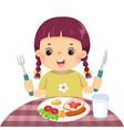 little girl eating breakfast vector image vector image