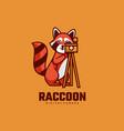 logo raccoon simple mascot style vector image