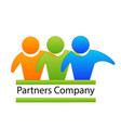 logo teamwork partnes hug business people vector image vector image