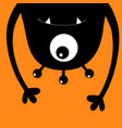 monster head silhouette one eye teeth fang hands vector image vector image