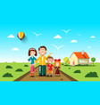 people with family house on background flat vector image vector image