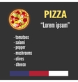 Pizza and ingredients Pizza menu with the list of vector image