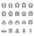 public transport outline style icon set vector image