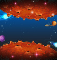 Scene with planets in galaxy vector image