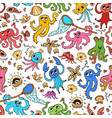 Seamless pattern with octopus and starfish
