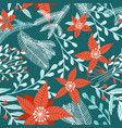 seamless pattern with winter plants flowers and vector image