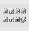 set calendar icons flat line design vector image vector image