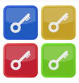 set of four square icons with key vector image vector image