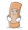 smirking band aid character cartoon vector image vector image