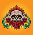 sugar skull muertos with flowers vector image