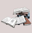 the sketches of the old printed books vector image vector image