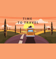 time to travel sunset van camper bus on road vector image vector image