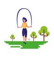 woman jumping rope natural outdoor vector image vector image