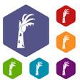 zombie hand icons set hexagon vector image vector image