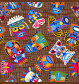 brown tribal masks seamless pattern vector image