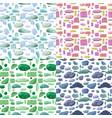 cartoon natural stones seamless patterns set vector image