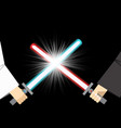 combat of light sword with spark effect vector image