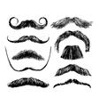 Hand drawn mustache set vector image