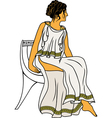 Ancient Greek woman sitting on a chair colored vector image