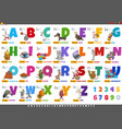 alphabet with cartoon characters and objects vector image vector image