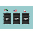 Barrels oil Black barrel of oil and State flag vector image