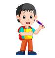 boy holding pencil vector image vector image