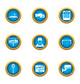 car map icons set flat style vector image vector image