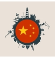 Cargo port relative silhouettes China flag vector image vector image