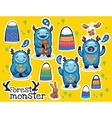 cartoon funny monsters stickers collection vector image vector image